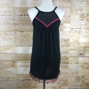 Francescas Pink and Black Spaghetti Strap Blouse S
